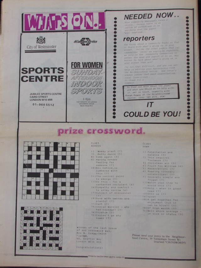 Page 16 Fitzrovia News no 45 June 1989