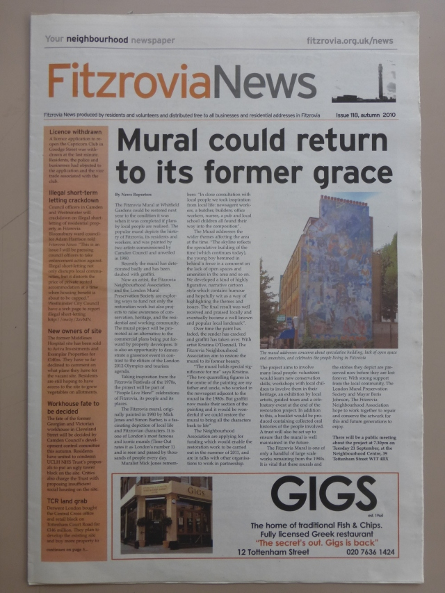 Front page Fitzrovia News, 118.