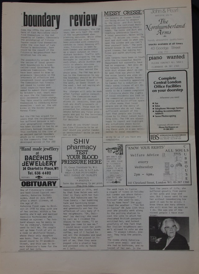 Page 6 Fitzrovia Neighbourhood News no 37 October 1987