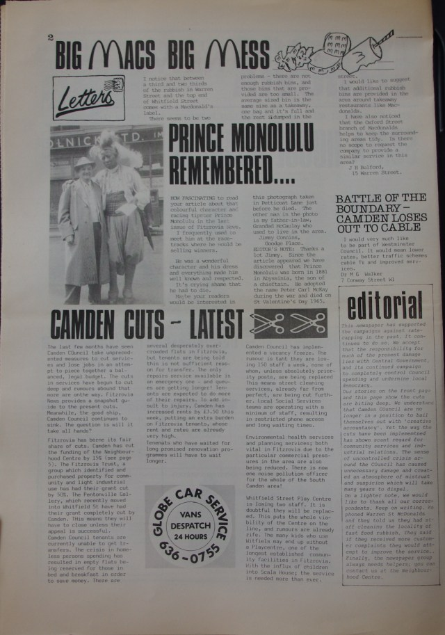 Page 2 Fitzrovia Neighbourhood News no 39 March 1988
