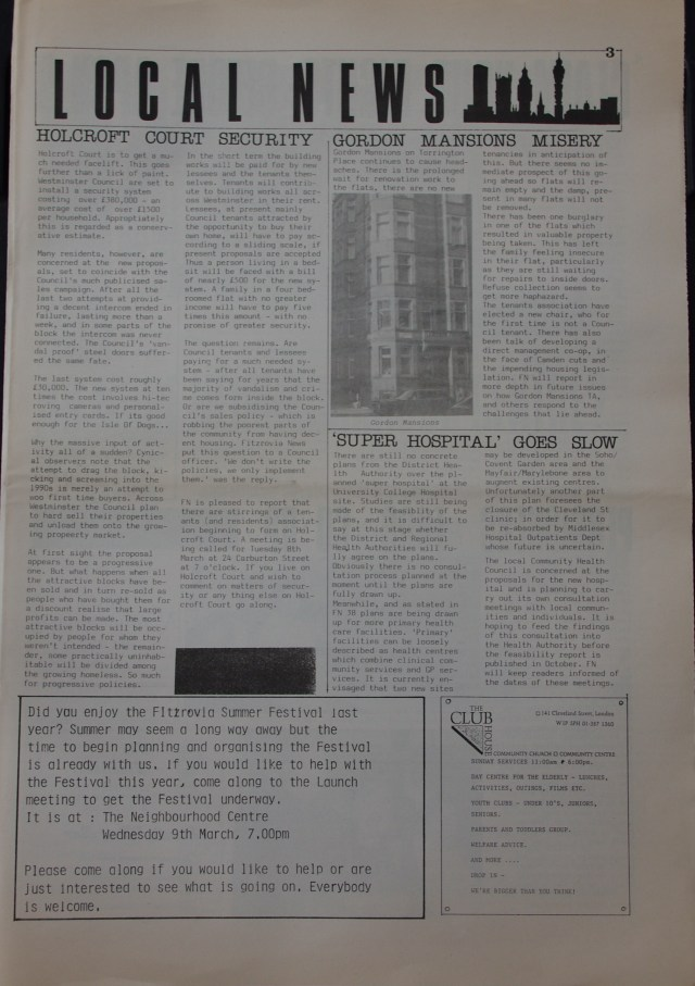 Page 3 Fitzrovia Neighbourhood News no 39  March 1988