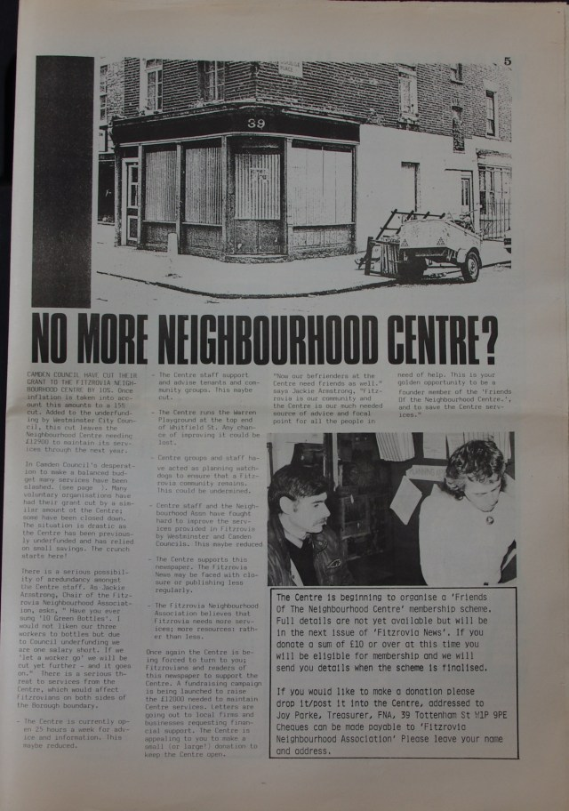 Page 5 Fitzrovia Neighbourhood News no 39  March 1988