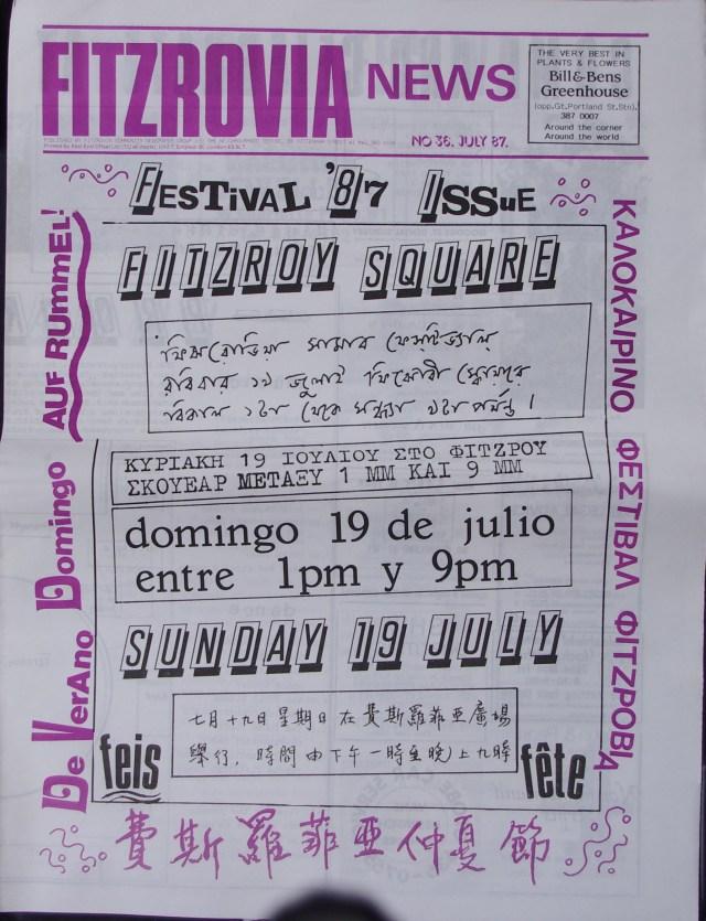 Front Page Fitzrovia Neighbourhood News no 36 July 1987