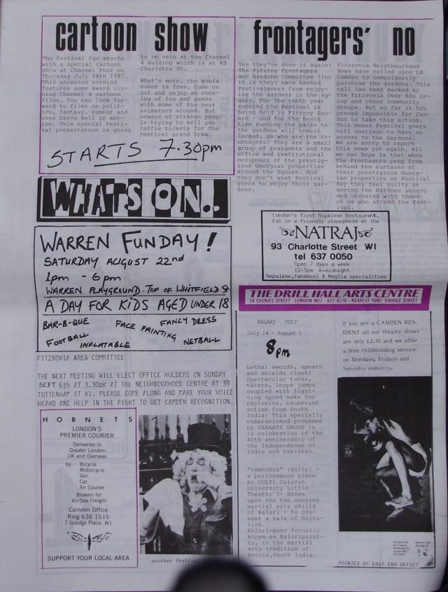 Page 4 Fitzrovia Neighbourhood News no 36 July 1987