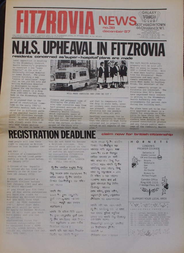 Front Page Fitzrovia Neighbourhood News no 38 December 1987