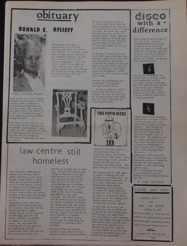 Page 3  Fitzrovia News no 44 March 1989