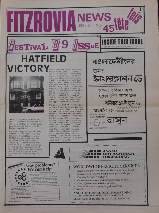 Front Page Fitzrovia News no 45 June 1989