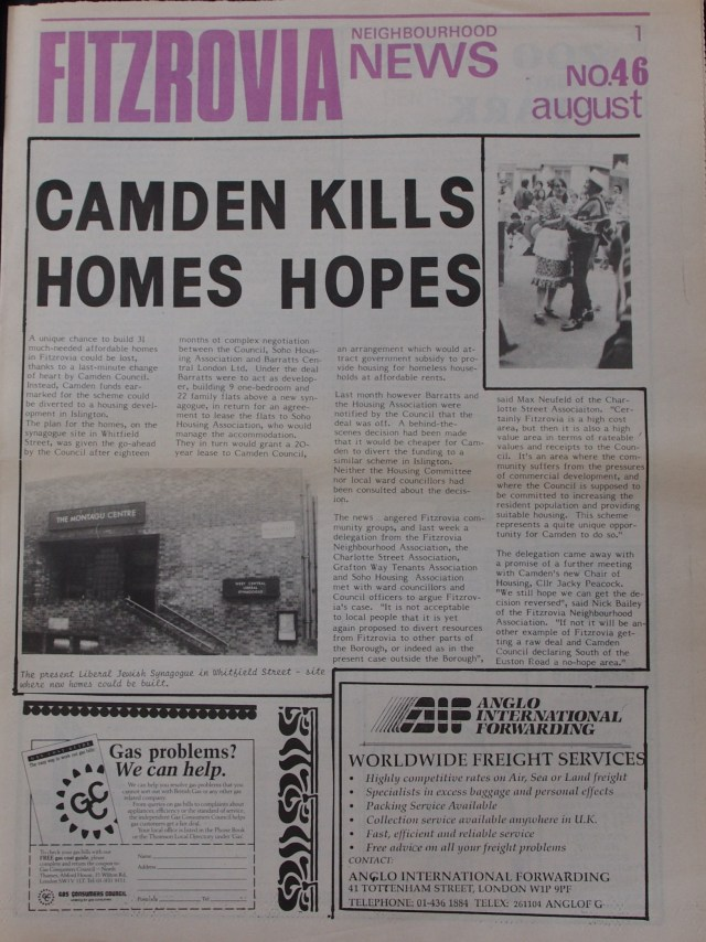 Front Page  Fitzrovia News no 46 August 1989