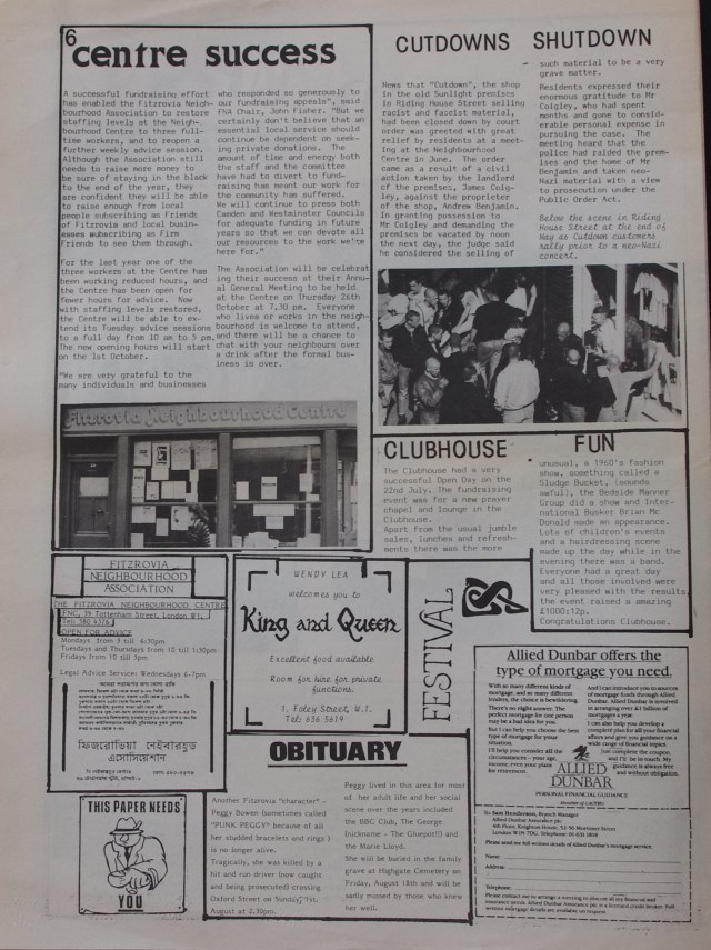 Page 6 Fitzrovia News no 46 August 1989