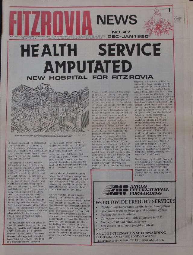Front Page  Fitzrovia News no 47 December 1989