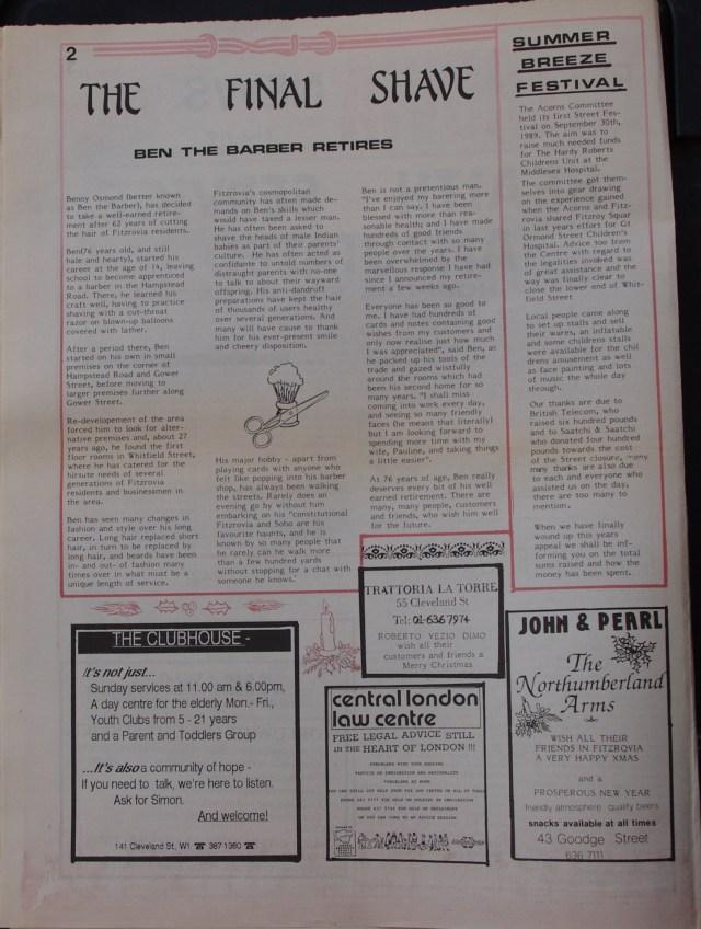 Page 2 Fitzrovia News no 47 December 1989