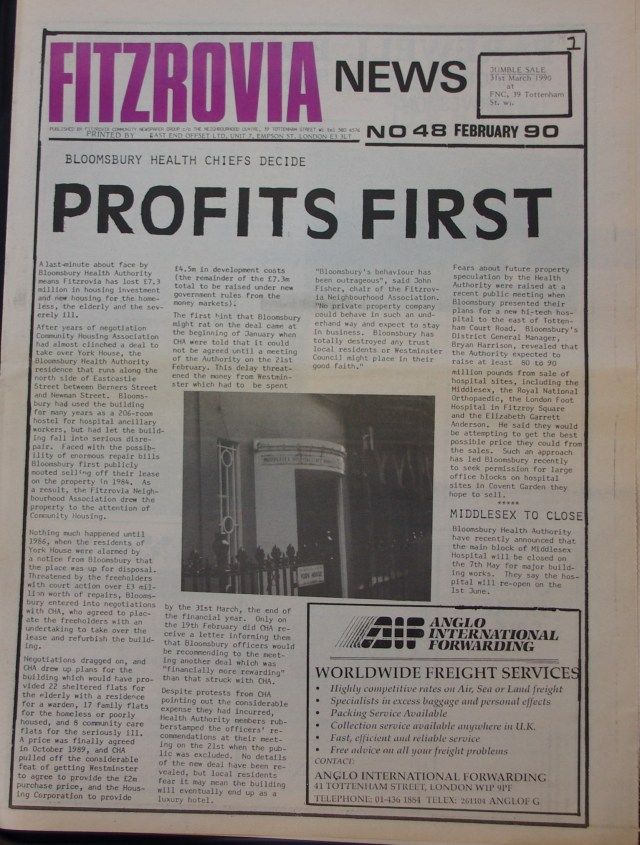 Front Page Fitzrovia News no 48 February 1990