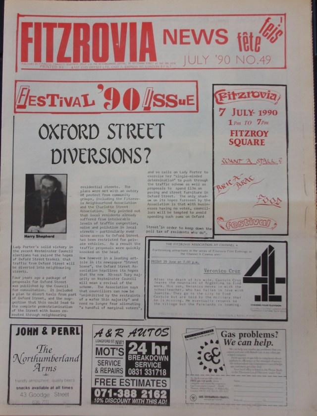 Front Page Fitzrovia News no 49 July 1990