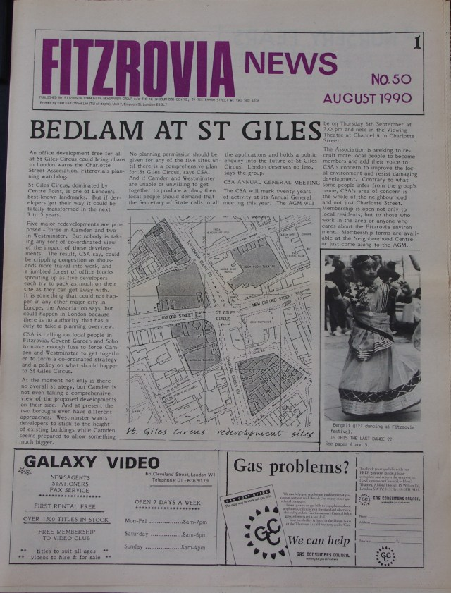 Front Page Fitzrovia News no 50 August 1990