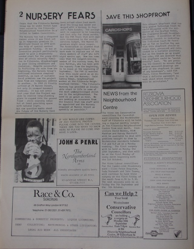 Page 2 Fitzrovia News no 50 August 1990