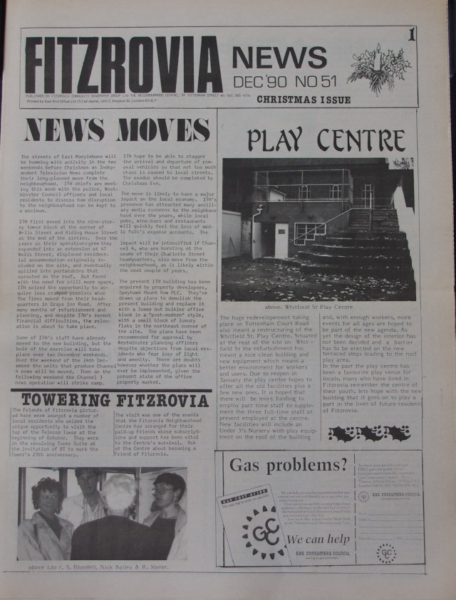 Front Page  Fitzrovia News no 51 December 1990