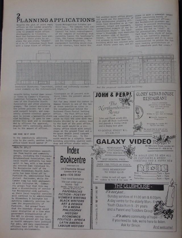 Page 2 Fitzrovia News no 51 December 1990
