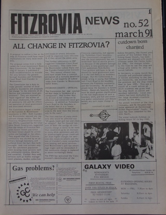 Front Page Fitzrovia News no 52 March 1991