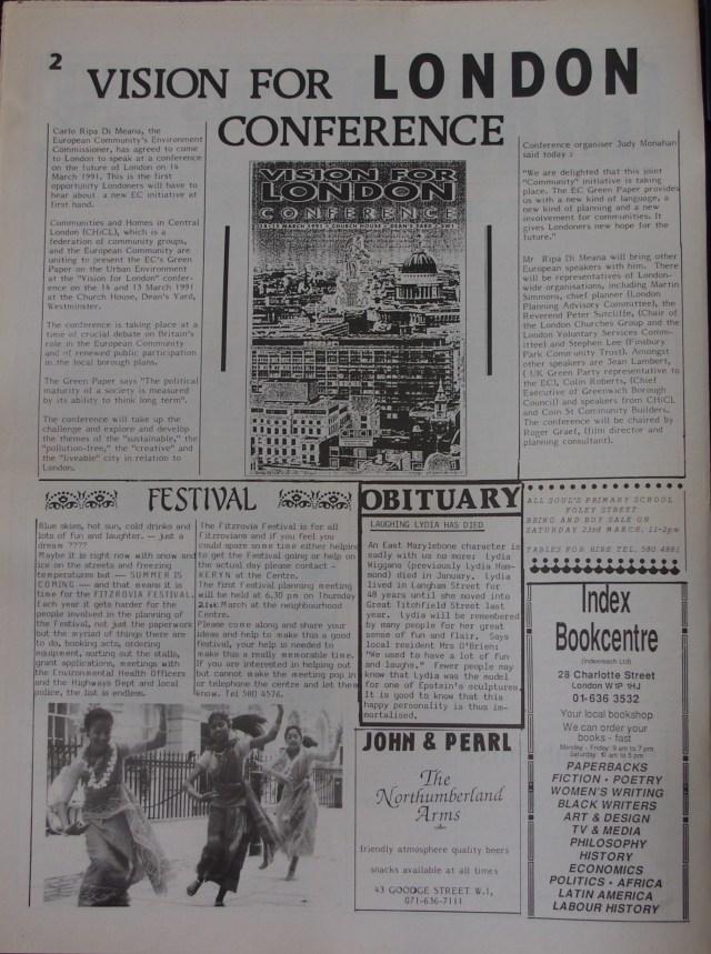 Page 2 Fitzrovia News no 52 March 1991