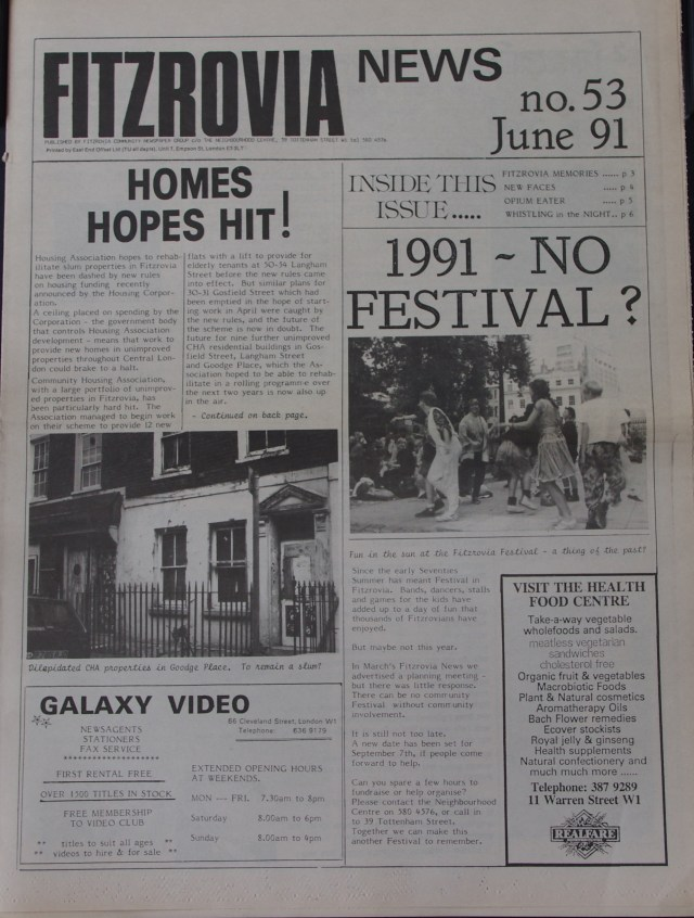 Front Page Fitzrovia News no 53 June 1991