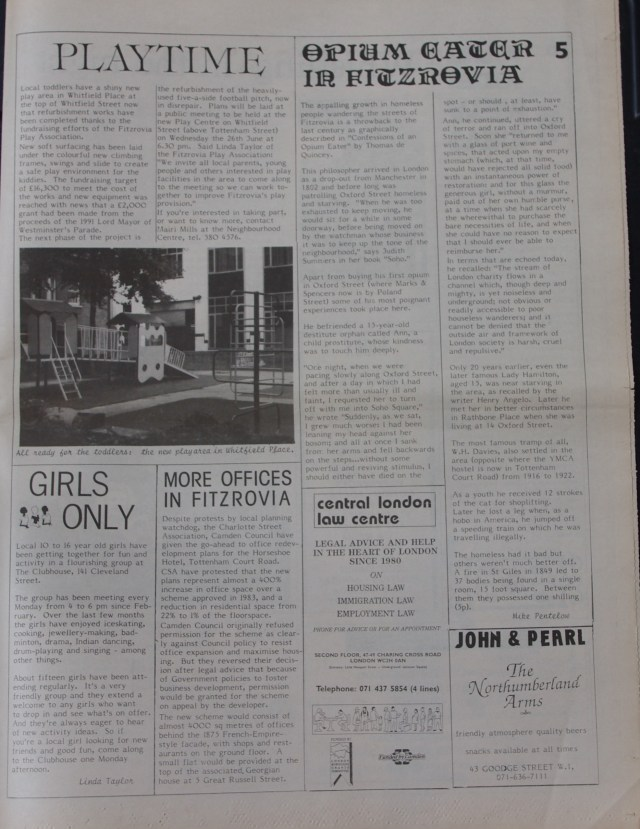 Page 5 Fitzrovia News no 53 June 1991
