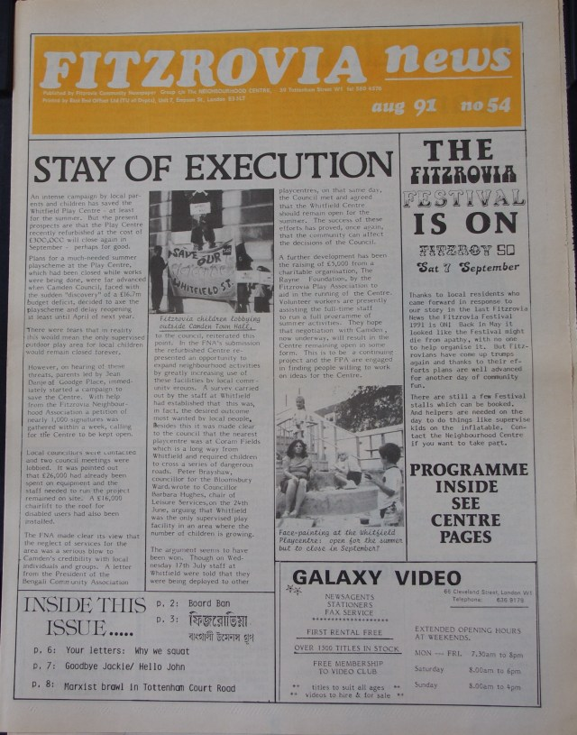 Front Page Fitzrovia News no 54 August 1991