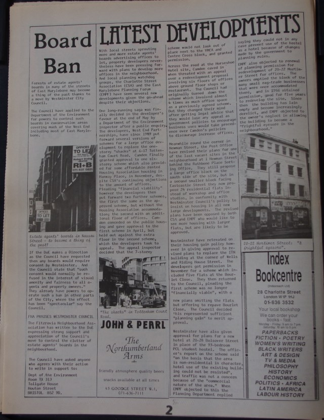 Page 2 Fitzrovia News no 54 August 1991
