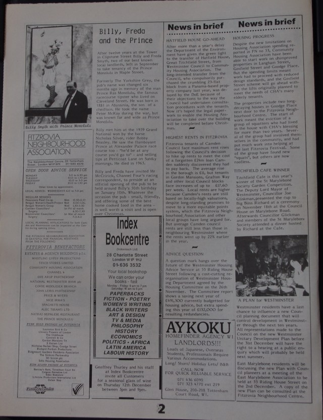 Page 2 Fitzrovia News no 55 December 1991
