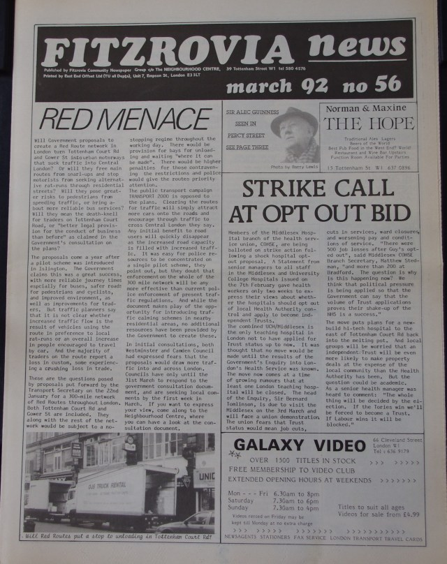 Front Page Fitzrovia News no 56  1991