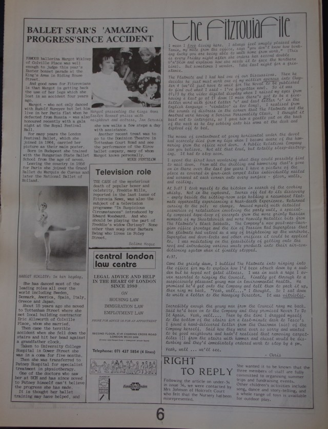 Page 6 Fitzrovia News no 57 June 1992