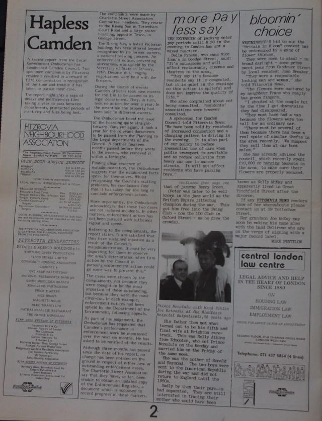 Page 2 Fitzrovia News no 58 September 1992