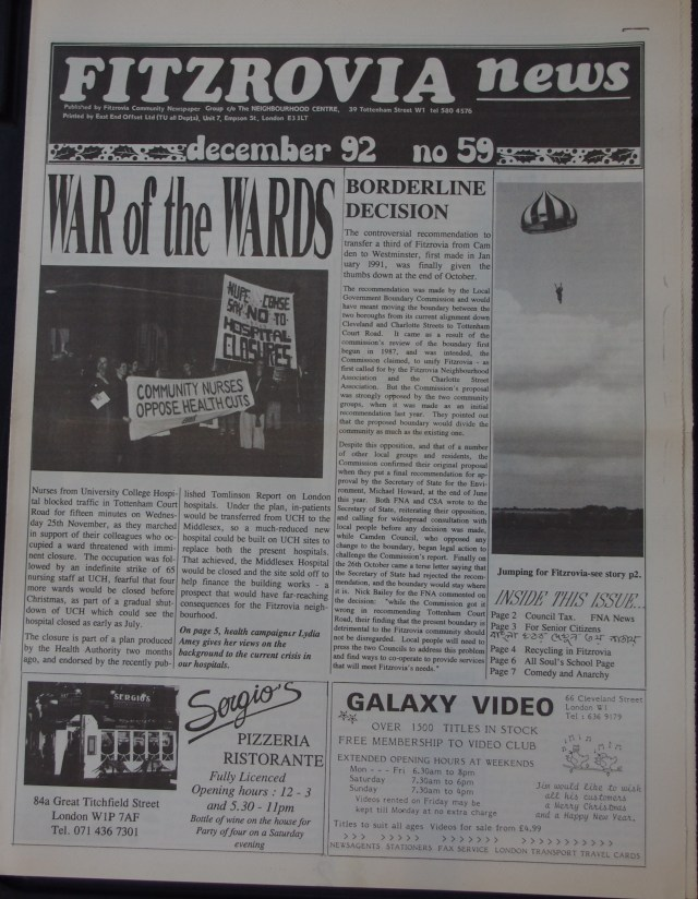 Front Page Fitzrovia News no 59 1992