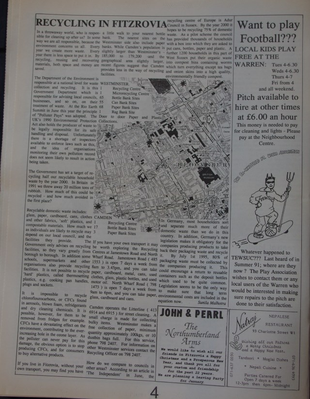 Page 4 Fitzrovia News no 59 December 1992