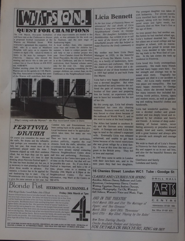 Page 8 Fitzrovia News no 60 March 1993