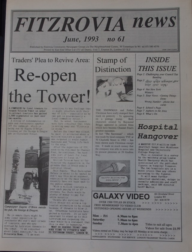 Front Page Fitzrovia News no 61 June 1993