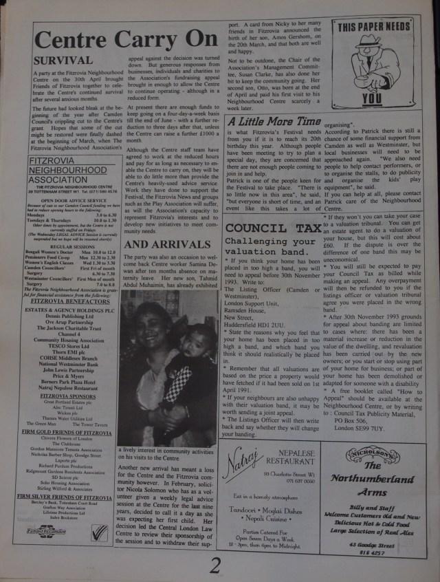 Page 2 Fitzrovia News no 61 June 1993