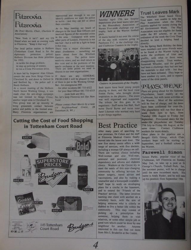 Page 4 Fitzrovia News no 61 June 1993