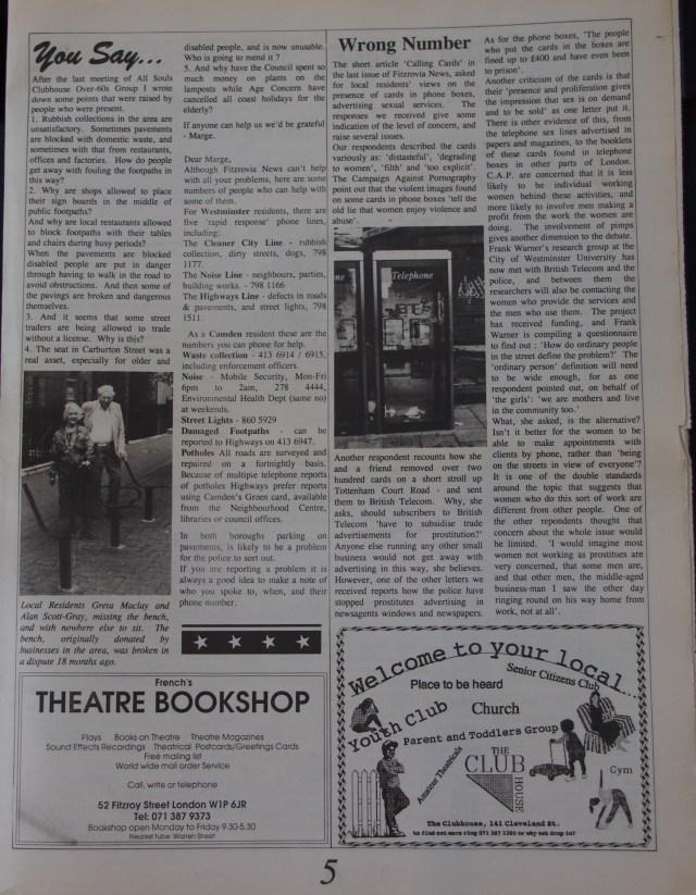 Page 5 Fitzrovia News no 61 June 1993