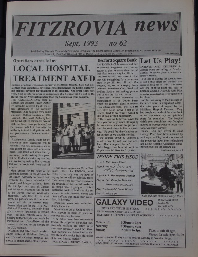Front Page  Fitzrovia News no 62 September 1993