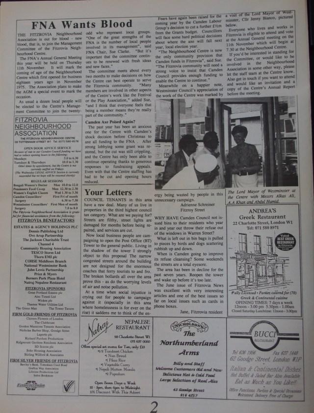 Page 2 Fitzrovia News no 62 September 1993