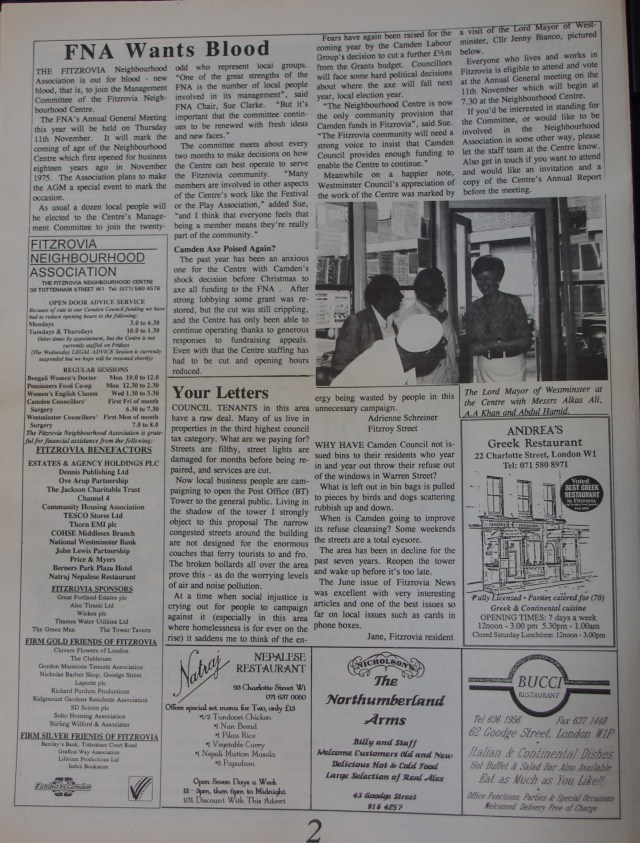 Page 2 Fitzrovia News no 62 September 1993