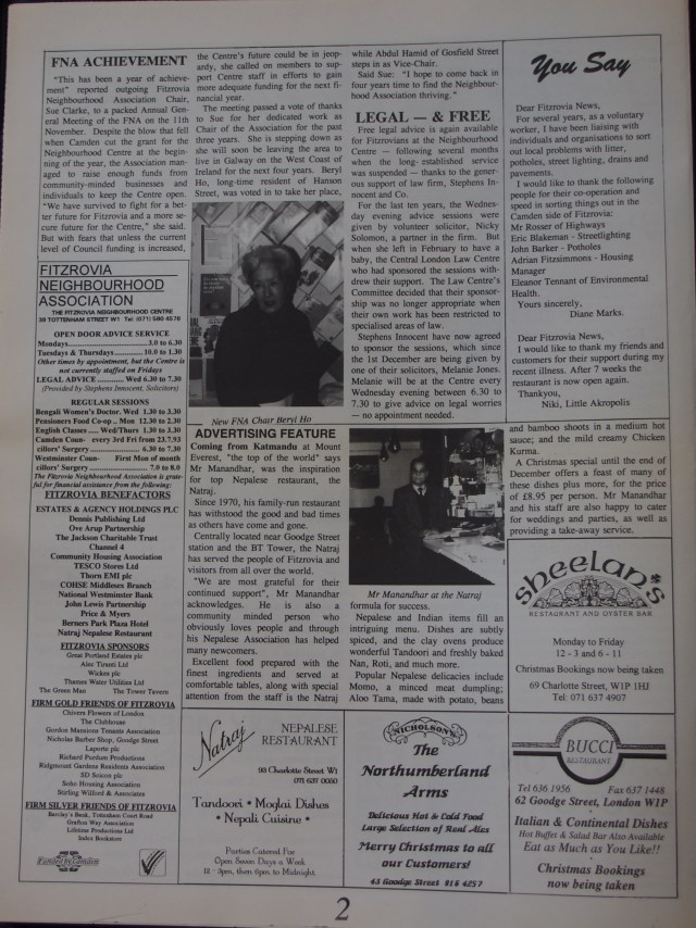 Page 2 Fitzrovia News no 63 December 1993