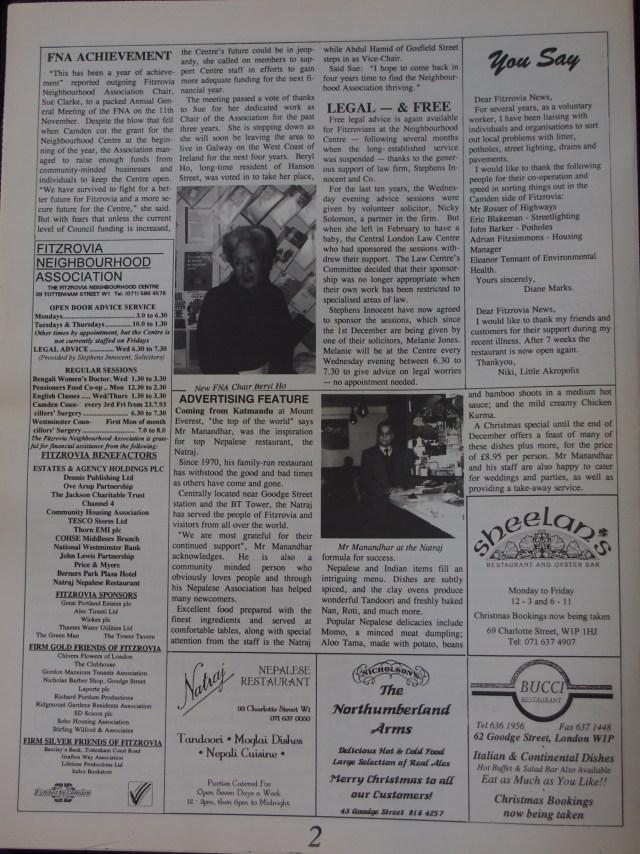 Page 2 Fitzrovia News no 63 December 1993