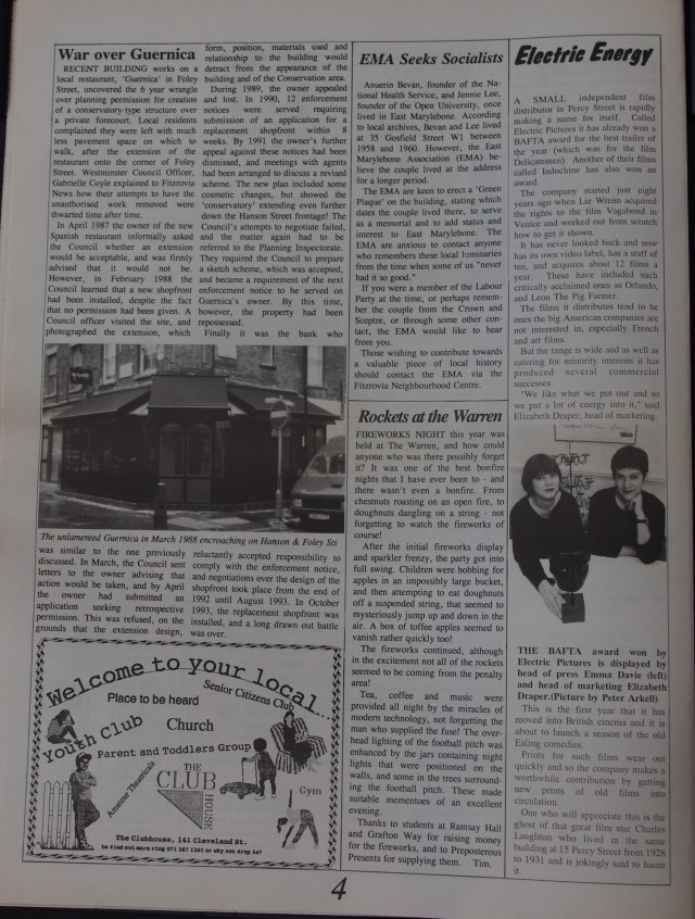Page 4 Fitzrovia News no 63 December 1993