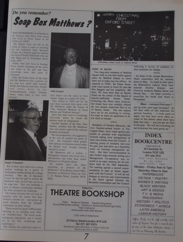 Page 7 Fitzrovia News no 63 December 1993