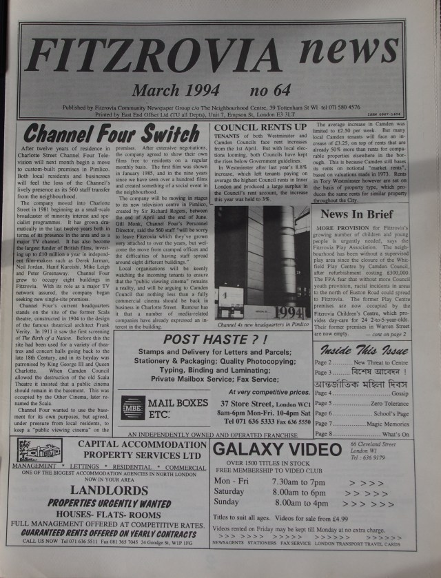 Fitzrovia News no 64 March 1994