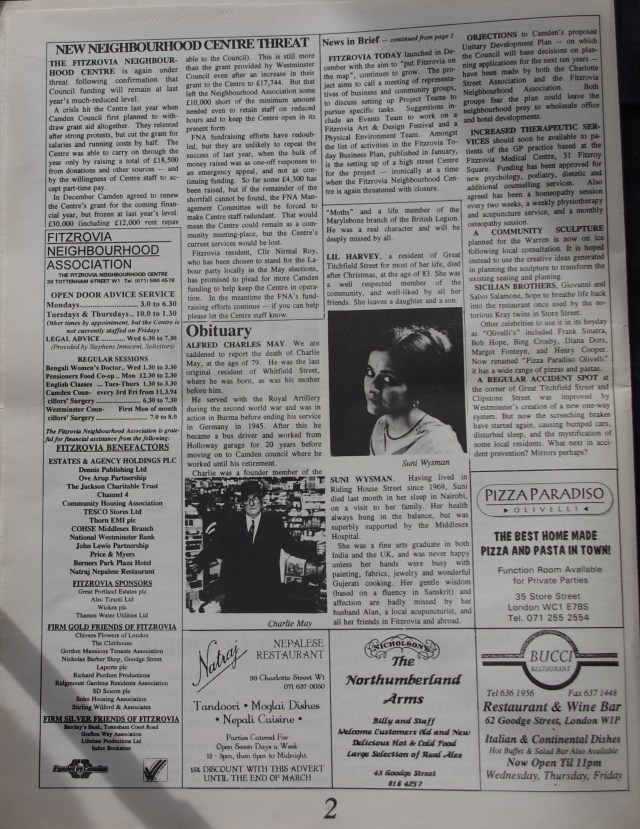 Page 2 Fitzrovia News no 64 March 1994