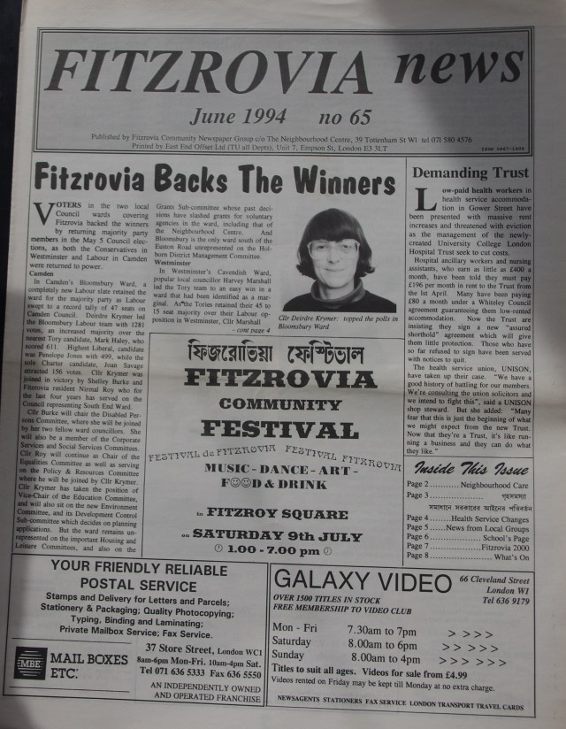 Front  Page Fitzrovia News no 65 June1994