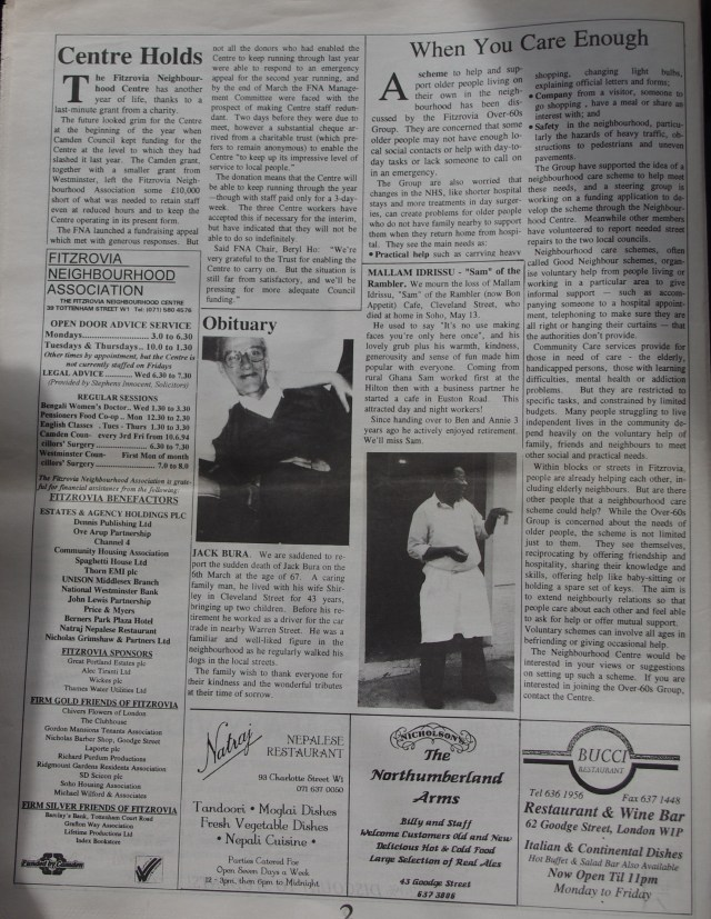 Page 2 Fitzrovia News no 65 June1994
