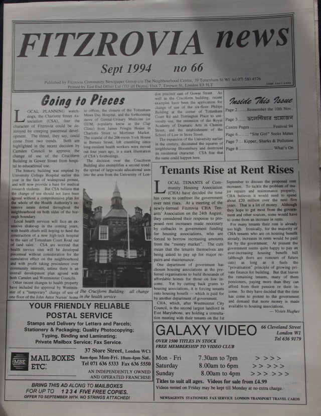 Front Page Fitzrovia News no 66 September1994